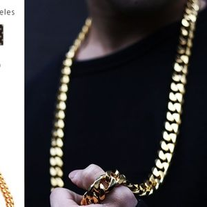 30 Inch 18K Gold 12 MM Thick Cuban Link Chain New